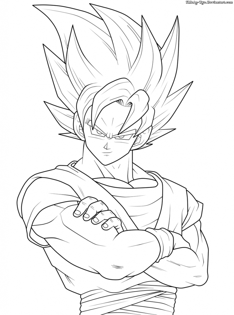Colorir Goku De Dragon Ball Z Muito F 225 Cil Colorir E Pintar