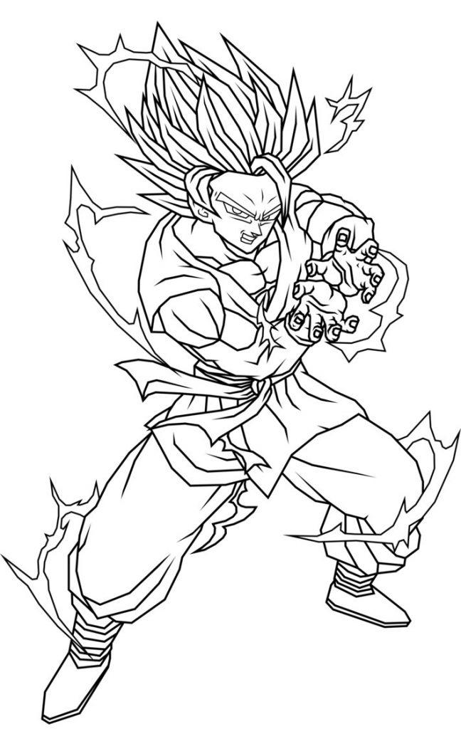 Colorir Goku De Dragon Ball Z Muito F 225 Cil Colorir E Pintar