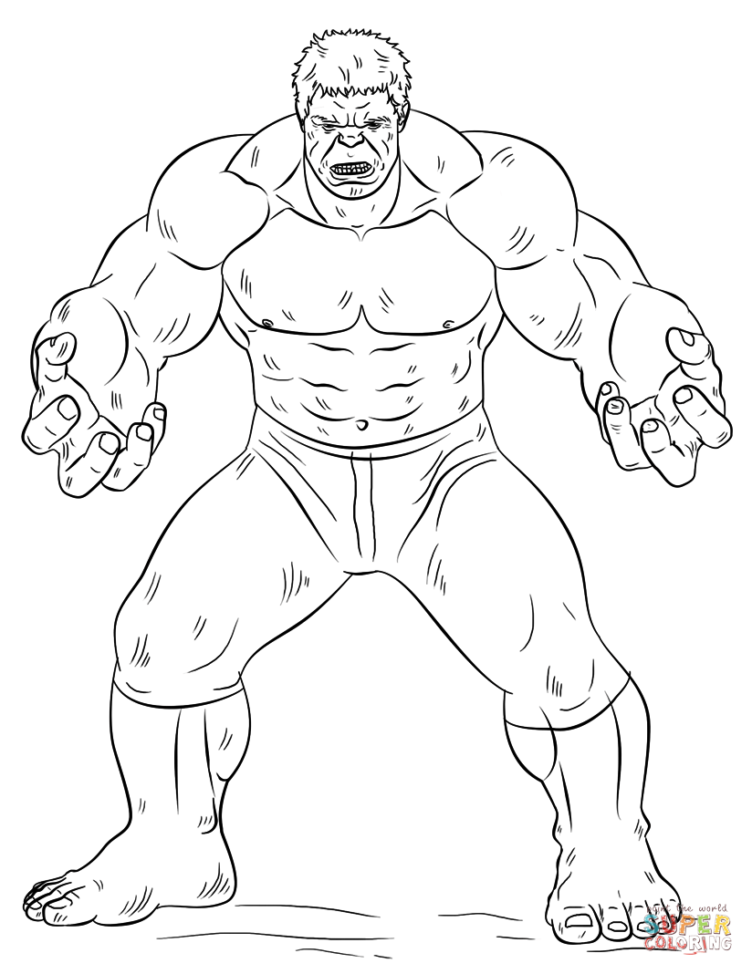 Hulk para colorir e imprimir muito f cil colorir e pintar for Incredible hulk coloring page