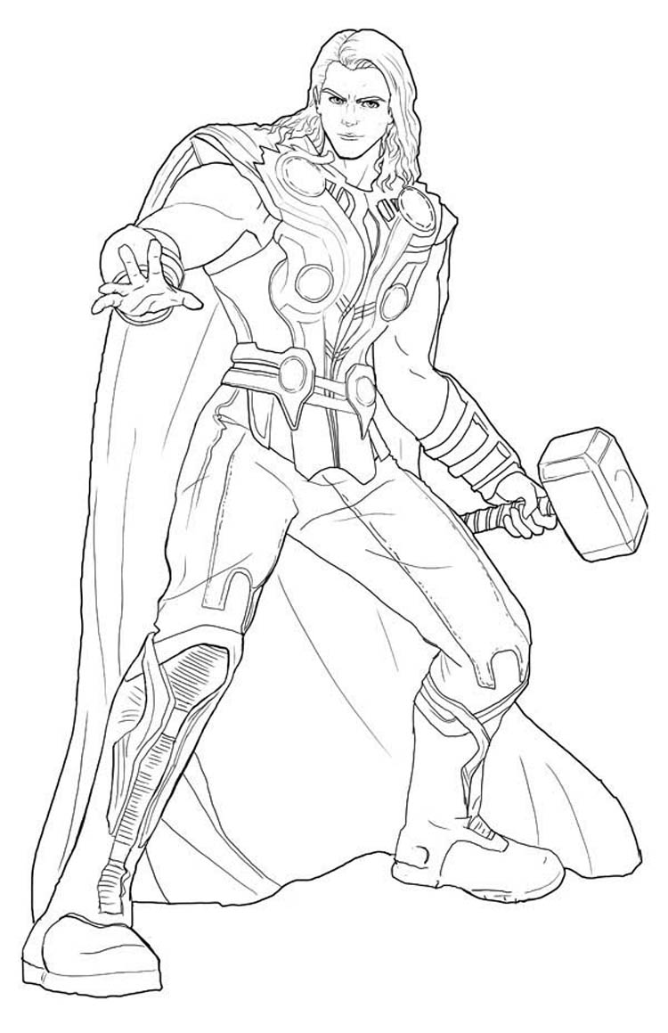 Thor Para Colorir E Imprimir - Muito F U00e1cil
