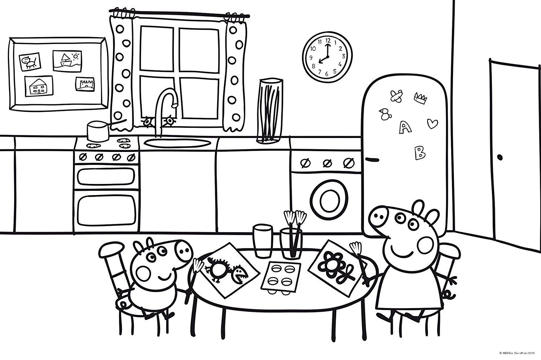 desenho de Peppa Pig e George no dia das bruxas para colorir
