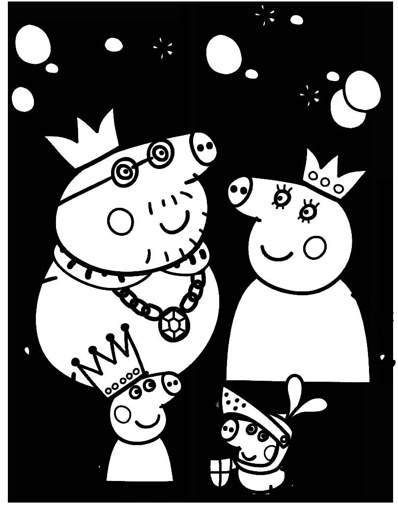 Desenho de Peppa Pig no inverno para colorir