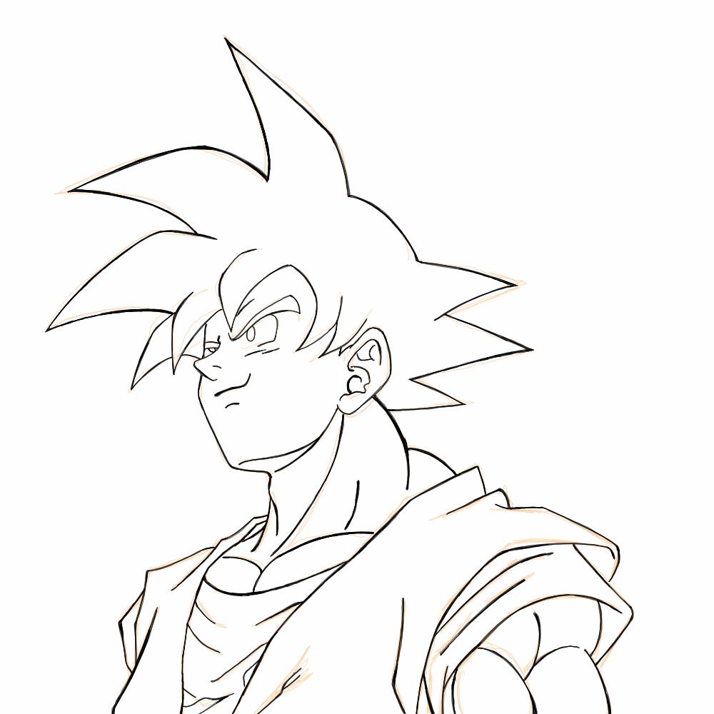 colorir goku desenho para pintar