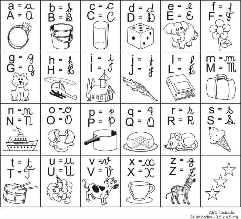 alfabeto para colorir e pintar