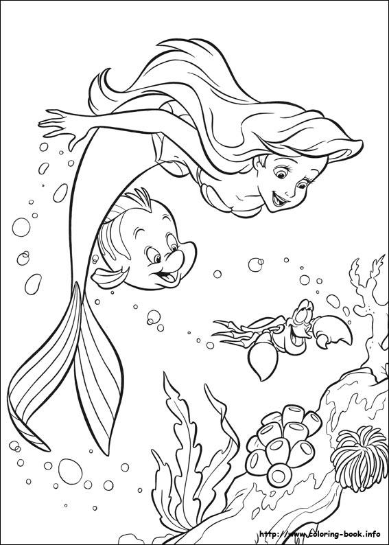 pequena sereia para colorir e pintar