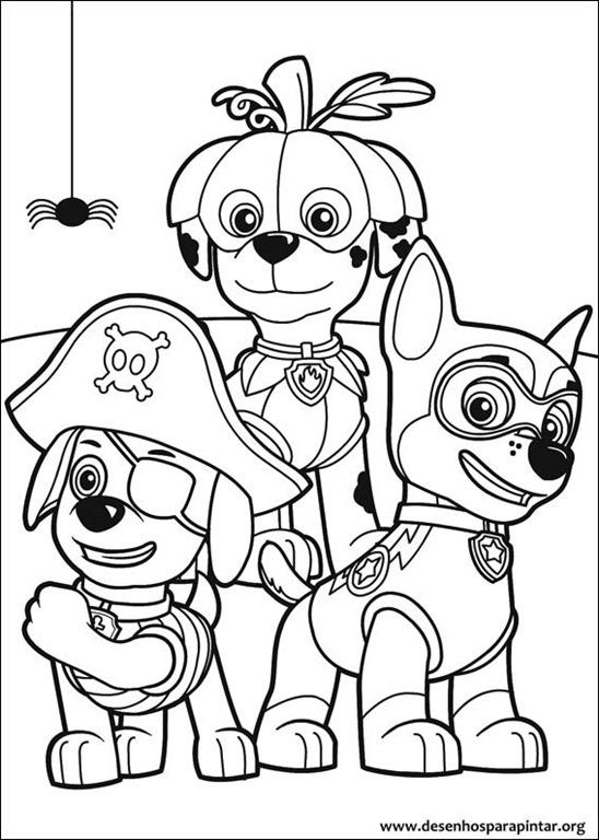 patrulha canina para colorir e pintar