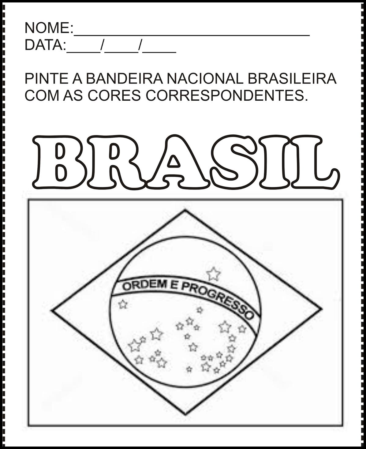 Bandeira Do Brasil Para Colorir E Imprimir Muito Facil Colorir
