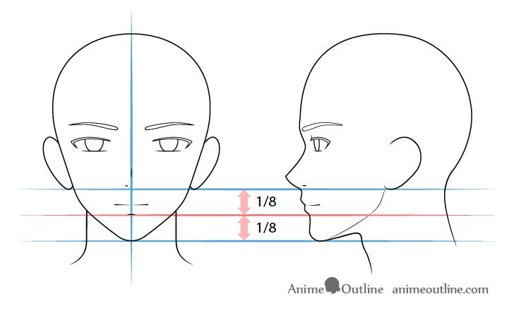 como desenhar um personagem de anime boca masculina
