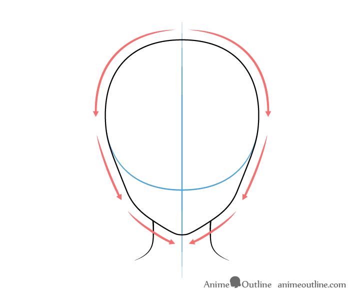 como desenhar um personagem de anime cabeça feminina