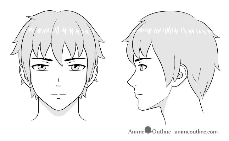 como desenhar um personagem de anime cabeça masculina arte final sombreamento