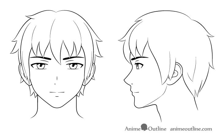 como desenhar um personagem de anime cabeça masculina arte final