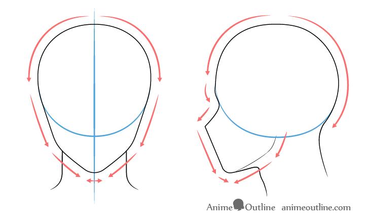 como desenhar um personagem de anime cabeça masculina