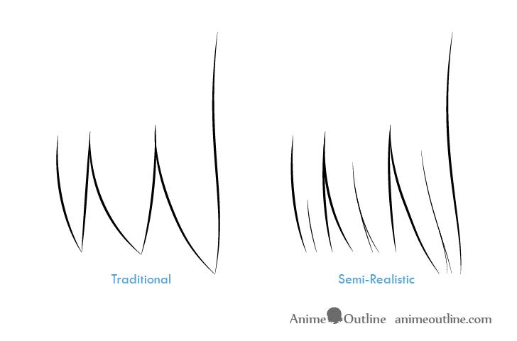 como desenhar um personagem de anime cabelo feminino 1