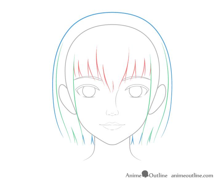 como desenhar um personagem de anime cabelo feminino 2