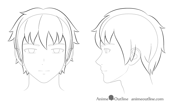 como desenhar um personagem de anime cabelo masculino