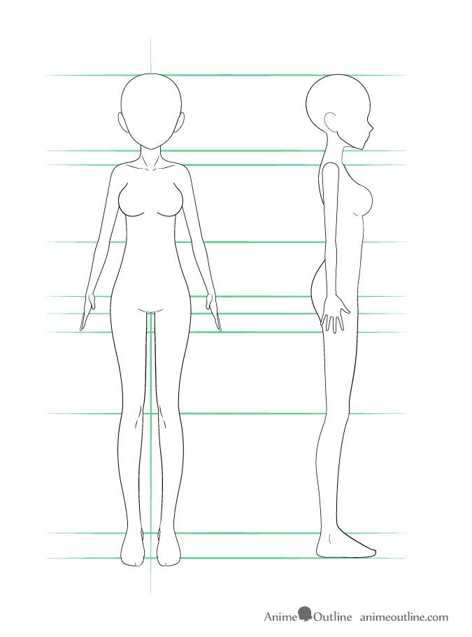 como desenhar um personagem de anime corpo feminino arte final