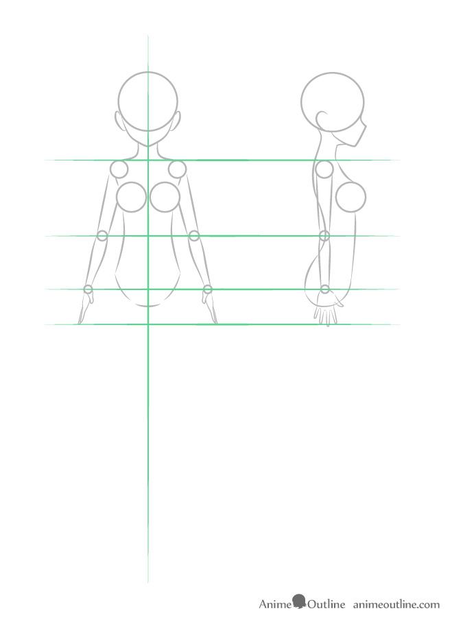 como desenhar um personagem de anime corpo feminino braços