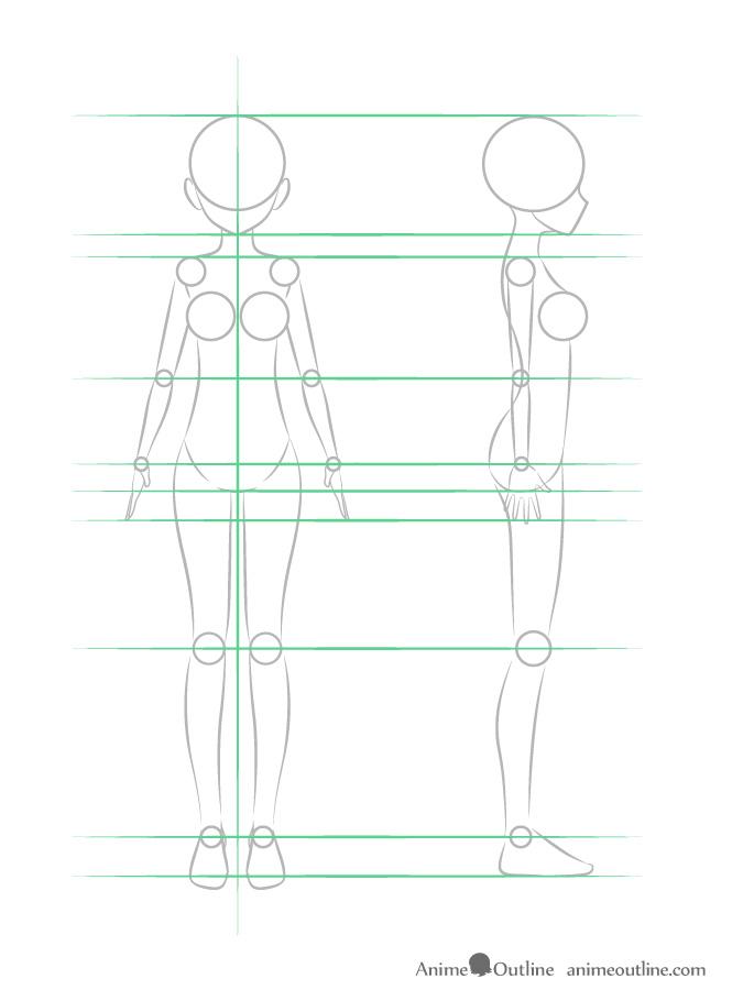 como desenhar um personagem de anime corpo feminino geral