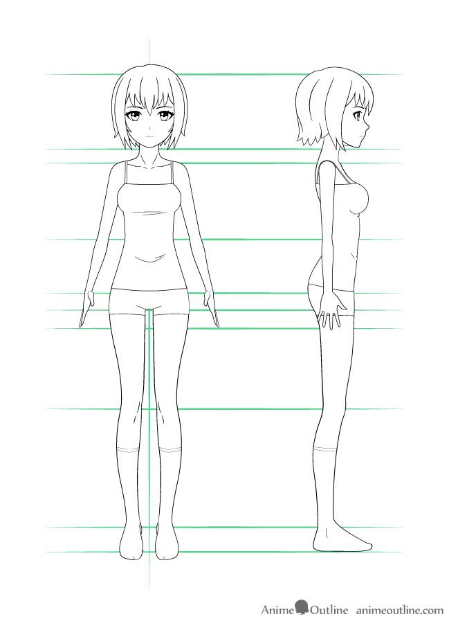 como desenhar um personagem de anime corpo feminino roupas