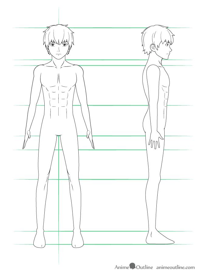 como desenhar um personagem de anime corpo masculino arte final