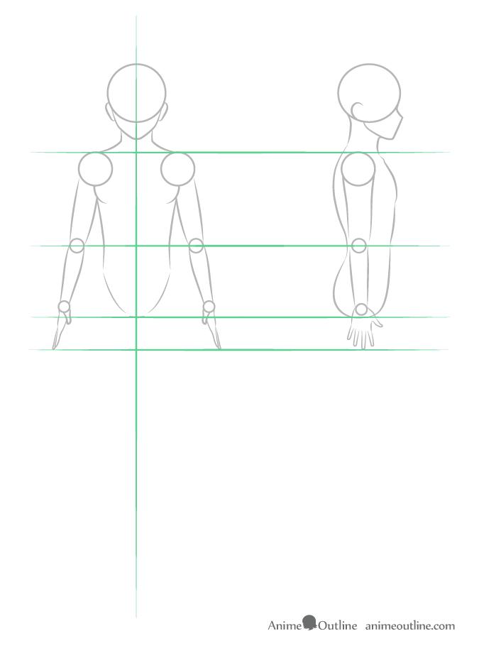 como desenhar um personagem de anime corpo masculino braço
