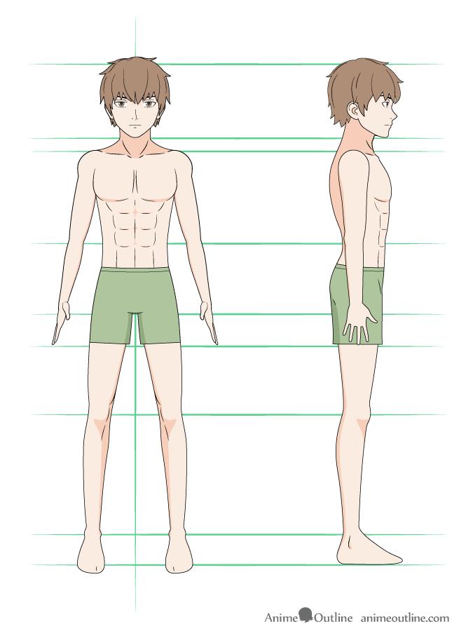 como desenhar um personagem de anime corpo masculino colorido
