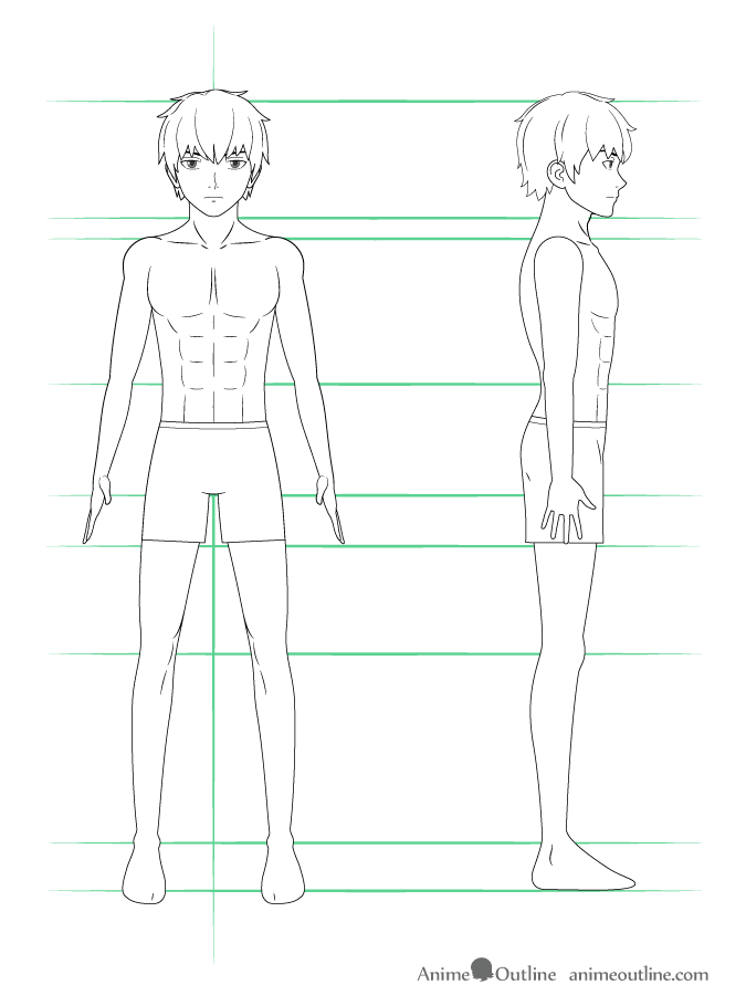 como desenhar um personagem de anime corpo masculino roupa