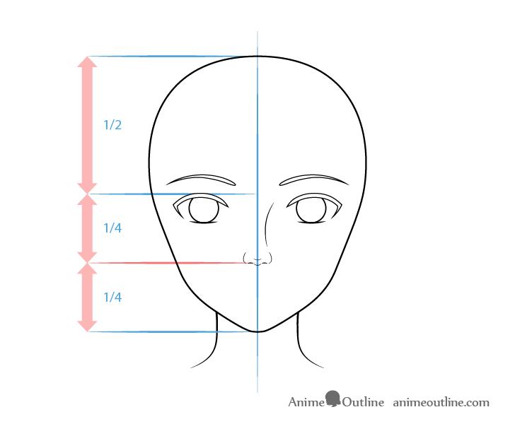 como desenhar um personagem de anime nariz feminino