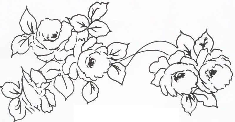 Desenhos de Rosas para Colorir pintura em tecido