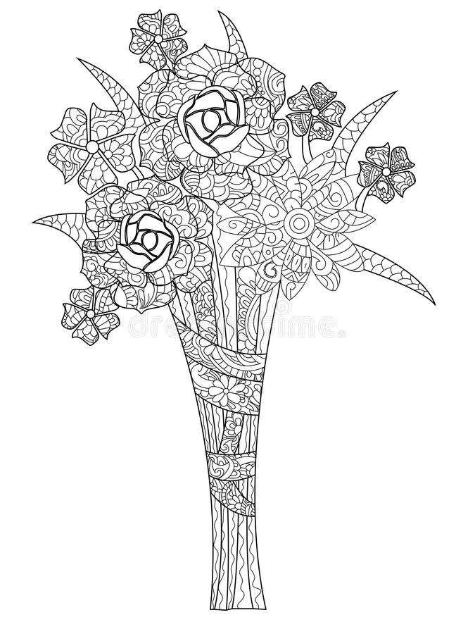 Desenhos de Rosas para Colorir ramalhete de rosas
