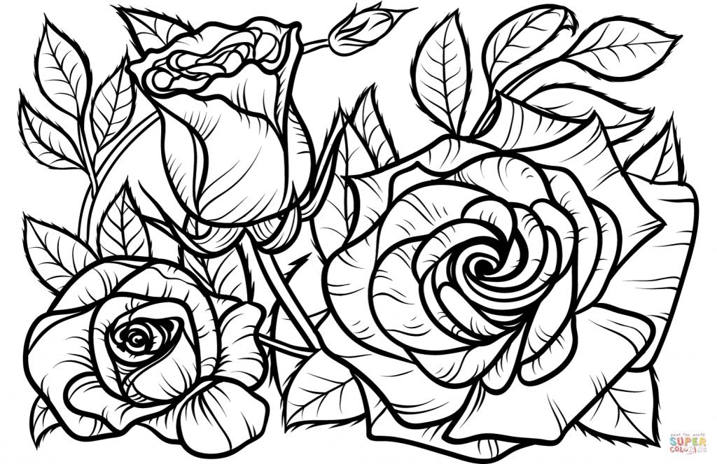 Desenhos de Rosas para Colorir rosas grandes e pequenas