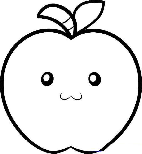 maçã para colorir fofa