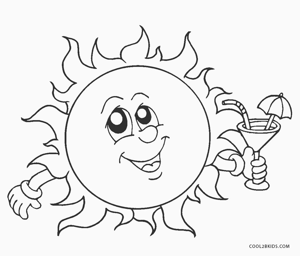 sol para colorir férias