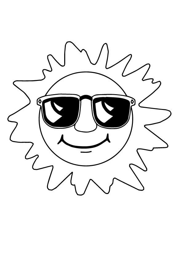 sol para colorir oculos escuro