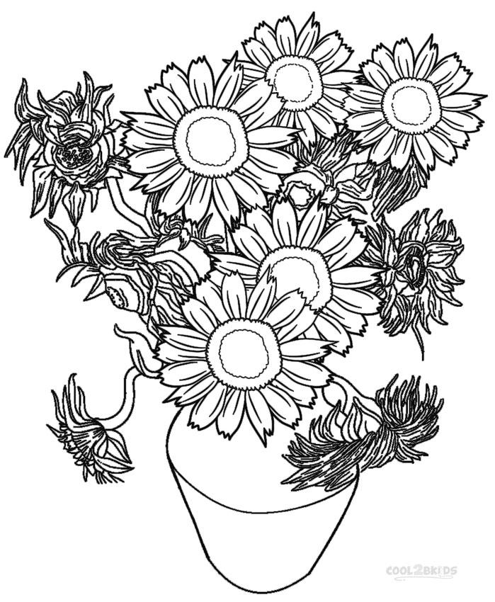 girassol para colorir vaso