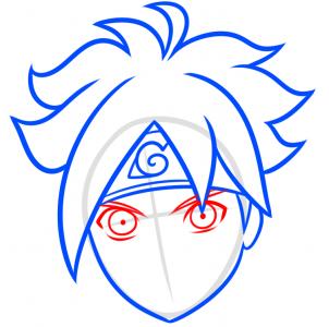 como desenhar o boruto cabeça olhos