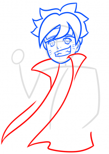 como desenhar o boruto corpo jaqueta