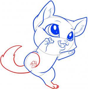 como desenhar um gatinho rabo