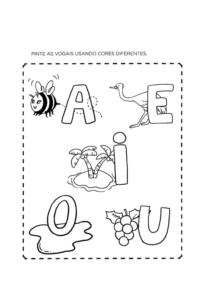 desenho vogais para colorir