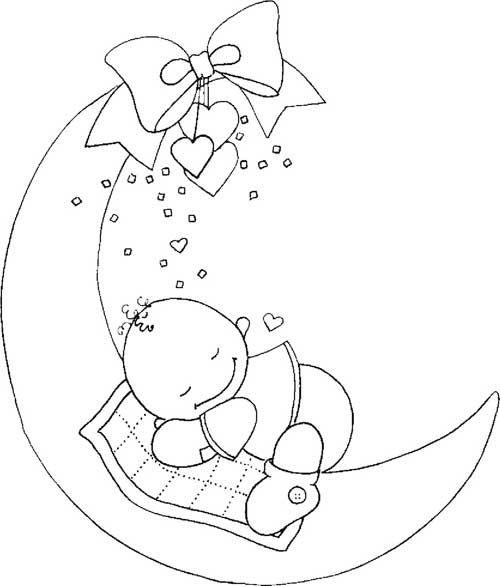 lua para colorir bebê