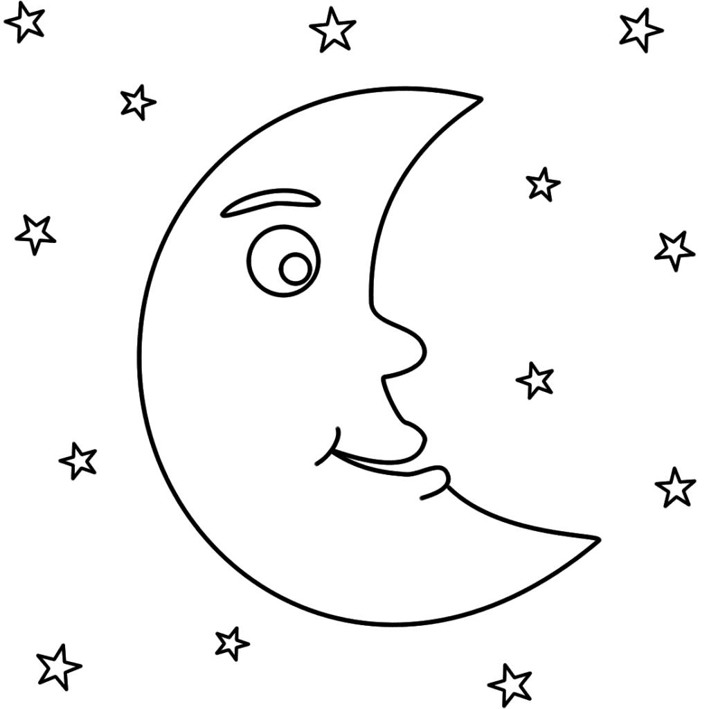 lua para colorir criança