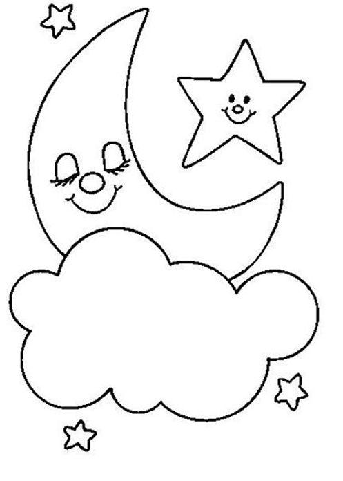 lua para colorir dormindo