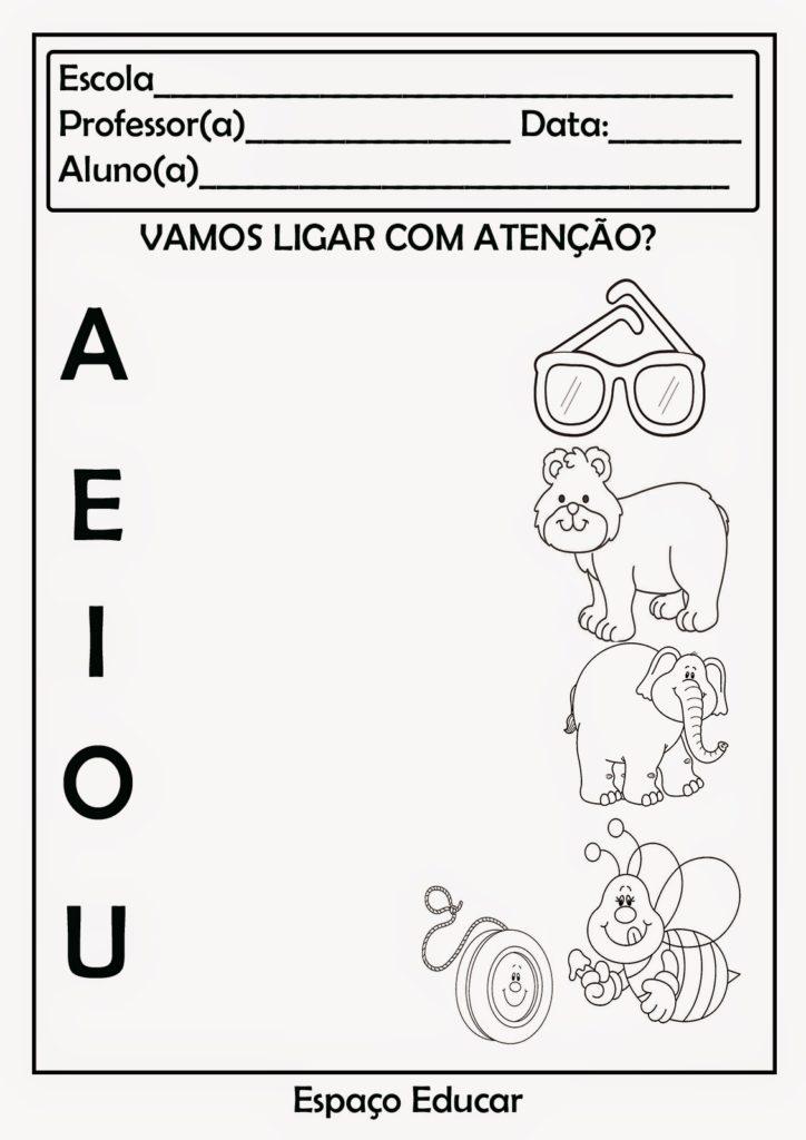 vogais para colorir exercicio