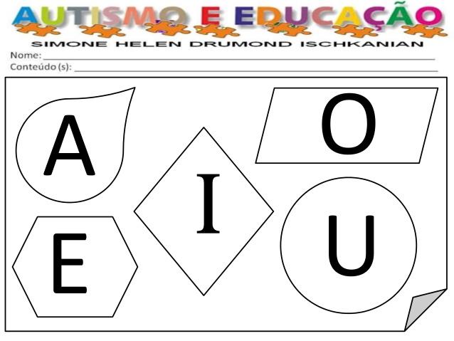 vogais para colorir formas