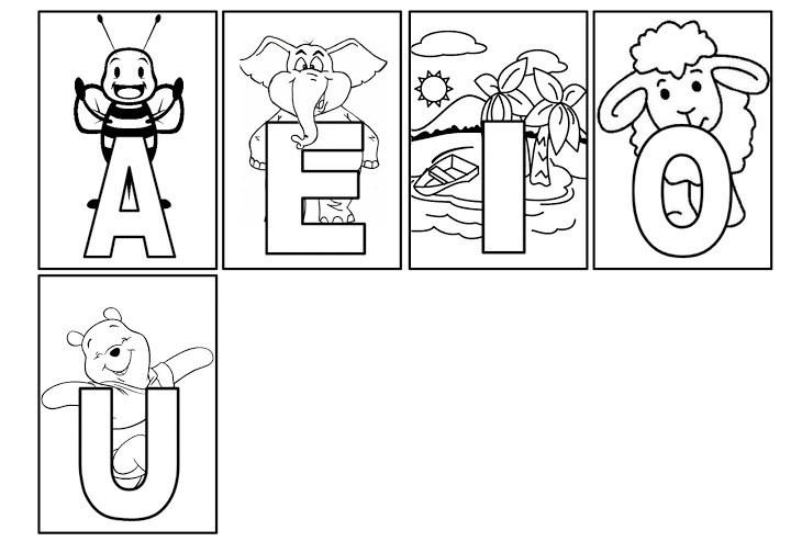 vogais para colorir imagem