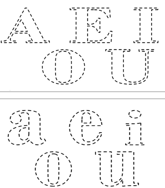 vogais para colorir pontilhadas