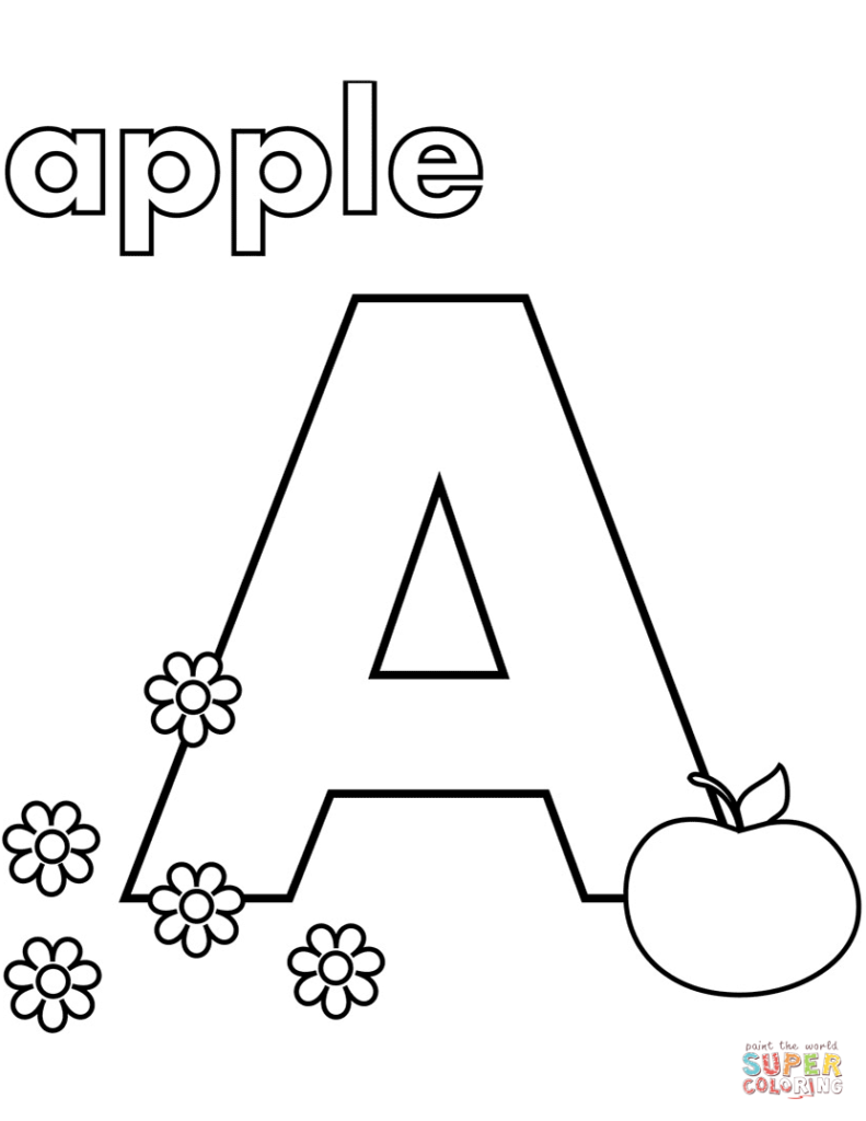 vogal a para colorir apple 2