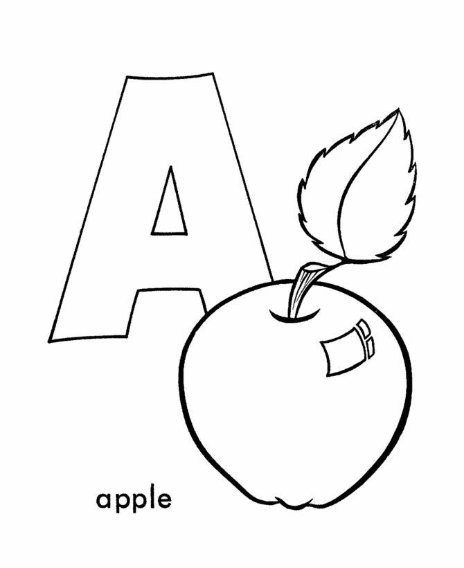 vogal a para colorir apple