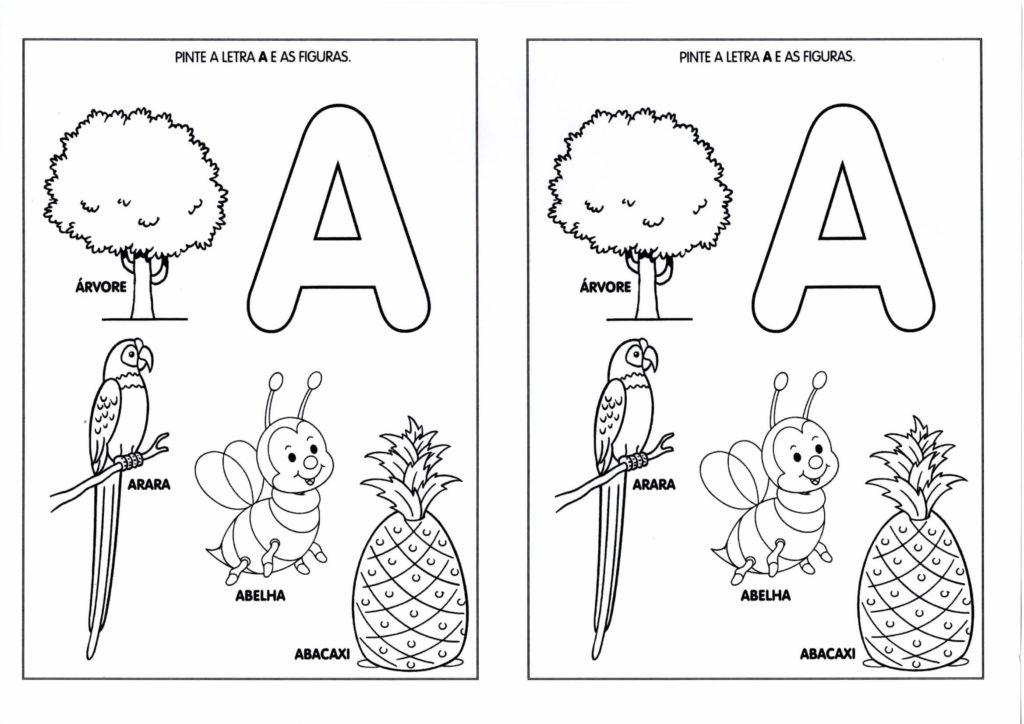 vogal a para colorir arara abacaxi arvore abelha