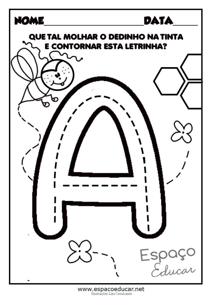vogal a para colorir atividade abelha
